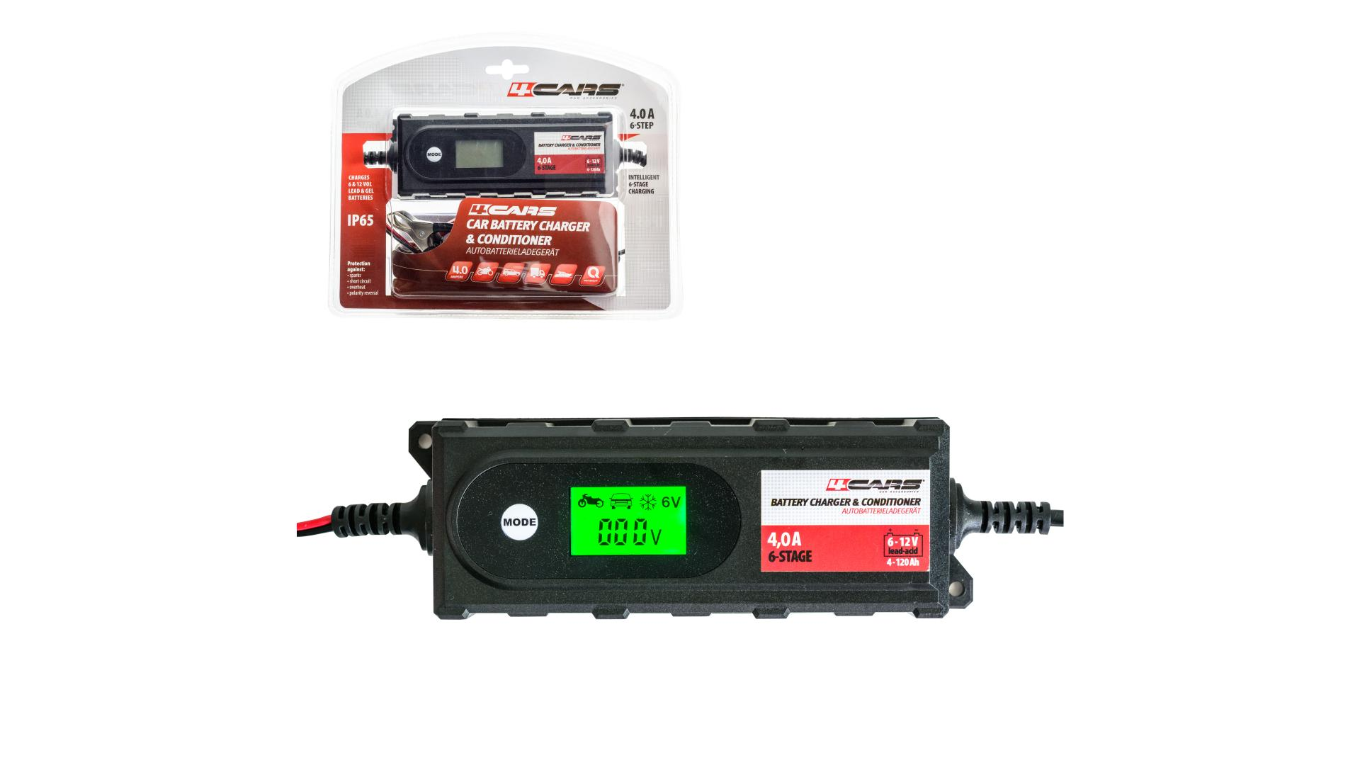 4CARS Inteligentná 6-stupňová nabíjačka-udržiavačka BT-B4.2; 6/12 V; 4,2 A (gelové a tekuté autobatérie)