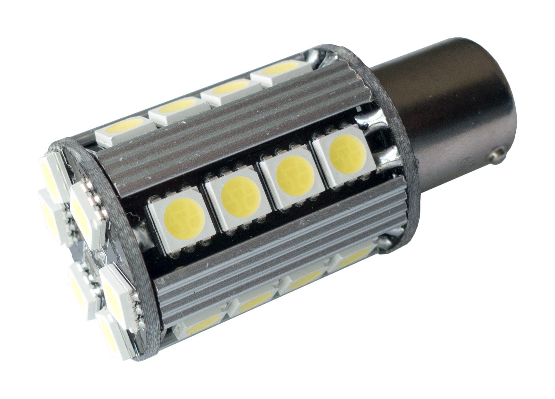 LED auto žiarovka BA15s P21W Canbus biela