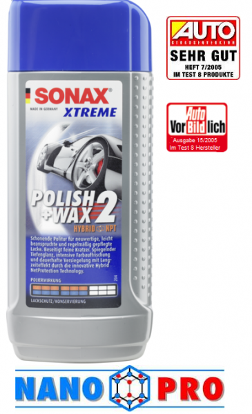 SONAX XTR leštidlo s voskom WAX2 250 ml