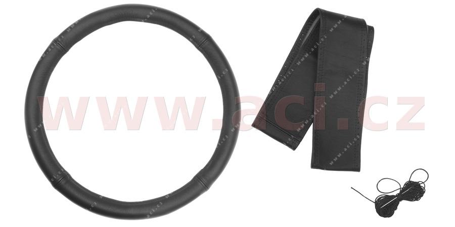 potah volantu obvod ± 120 cm, šíře 10,5 cm (čtyřdílná černá kůže, černé prošití)
