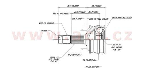 homokinetický kloub u kola průměr 46 mm, 22 vnějších drážek, 20 vnitřních drážek GLO