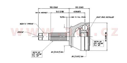 homokinetický kloub u kola průměr 52 mm, 22 vnějších drážek, 20 vnitřních drážek GLO
