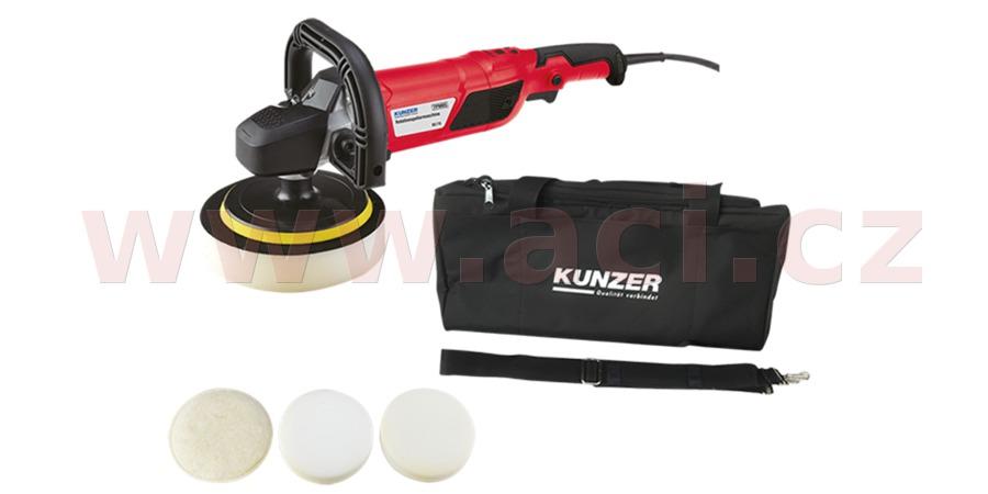 leštička rotační KUNZER 1500 W, regulace otáček 600-3000 ot./min., včetně kotoučů a tašky
