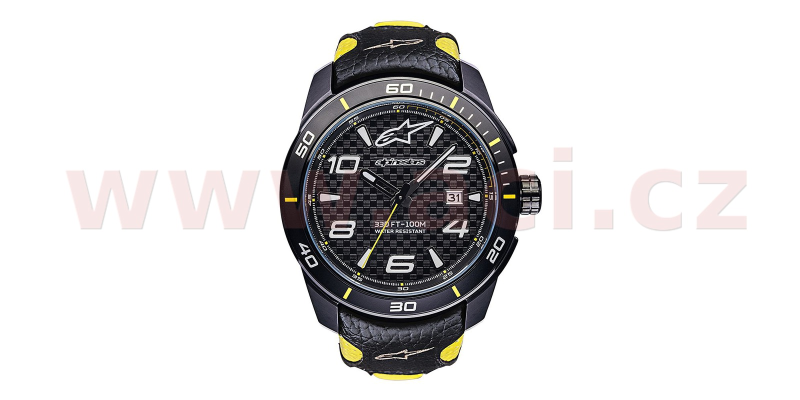 hodinky TECH RACE, ALPINESTARS (černá/žlutá, kožený pásek) ACI