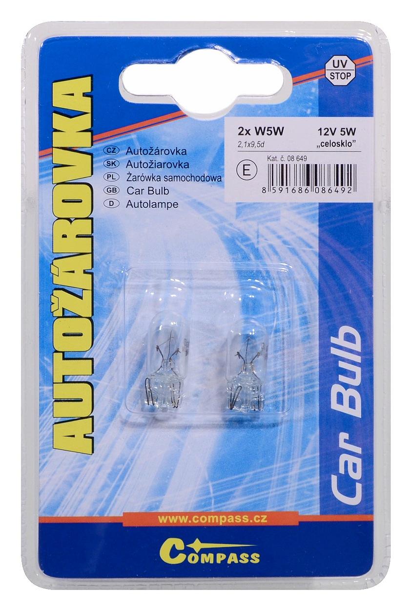 Žárovka 12V W5W 5W T10 celosklo blister 2ks