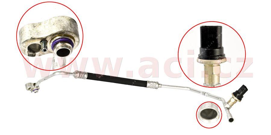 03- hadice klimatizace (na výstup kondenzátoru) 1.9TDi 96kW, 110kW od VIN 7M-5-025 001 {7M3820720F} ORIGINÁL