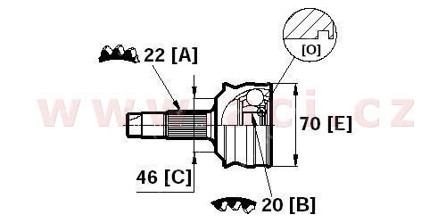 homokinetický kloub u kola průměr 46 mm, 22 vnějších drážek, 20 vnitřních drážek